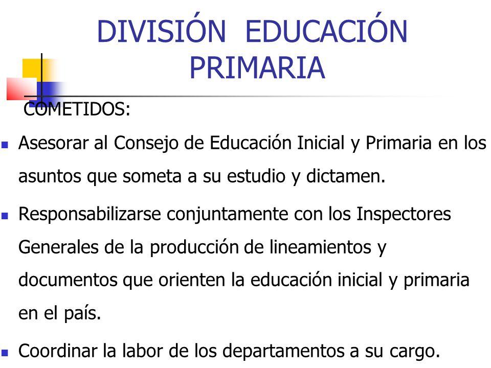 DIVISIÓN EDUCACIÓN PRIMARIA COMETIDOS: Asesorar al Consejo de Educación Inicial y Primaria en los asuntos que someta a su estudio y dictamen. Responsa