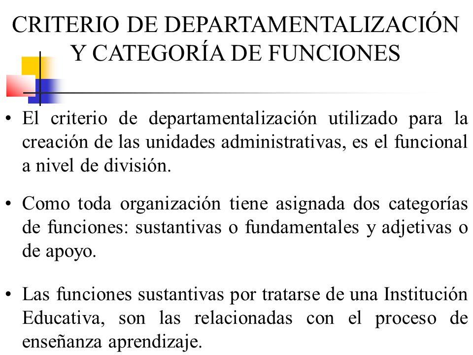 CRITERIO DE DEPARTAMENTALIZACIÓN Y CATEGORÍA DE FUNCIONES El criterio de departamentalización utilizado para la creación de las unidades administrativ