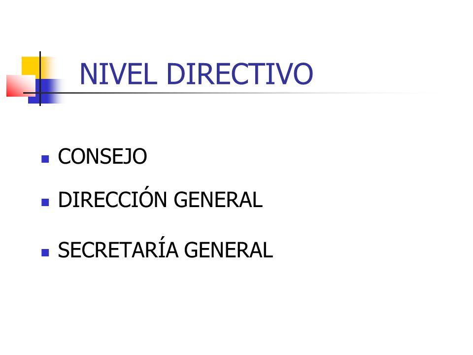 NIVEL DIRECTIVO CONSEJO DIRECCIÓN GENERAL SECRETARÍA GENERAL