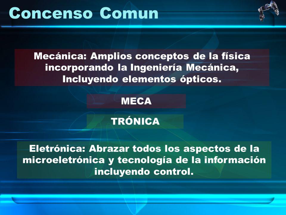 Concenso Comun MECA Mecánica: Amplios conceptos de la física incorporando la Ingeniería Mecánica, Incluyendo elementos ópticos. Eletrónica: Abrazar to