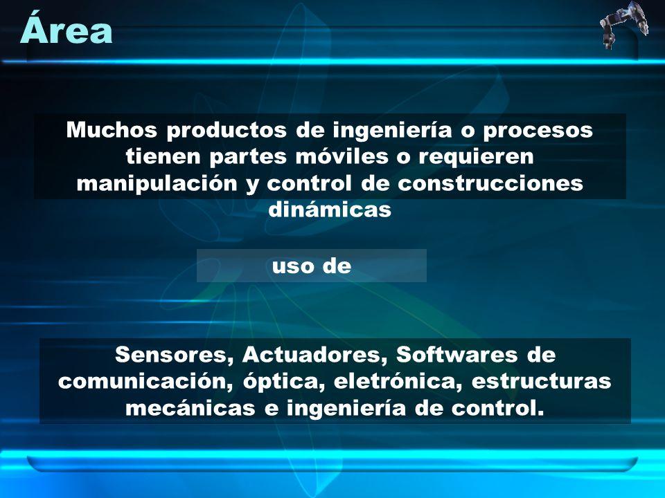 Área uso de Muchos productos de ingeniería o procesos tienen partes móviles o requieren manipulación y control de construcciones dinámicas Sensores, A
