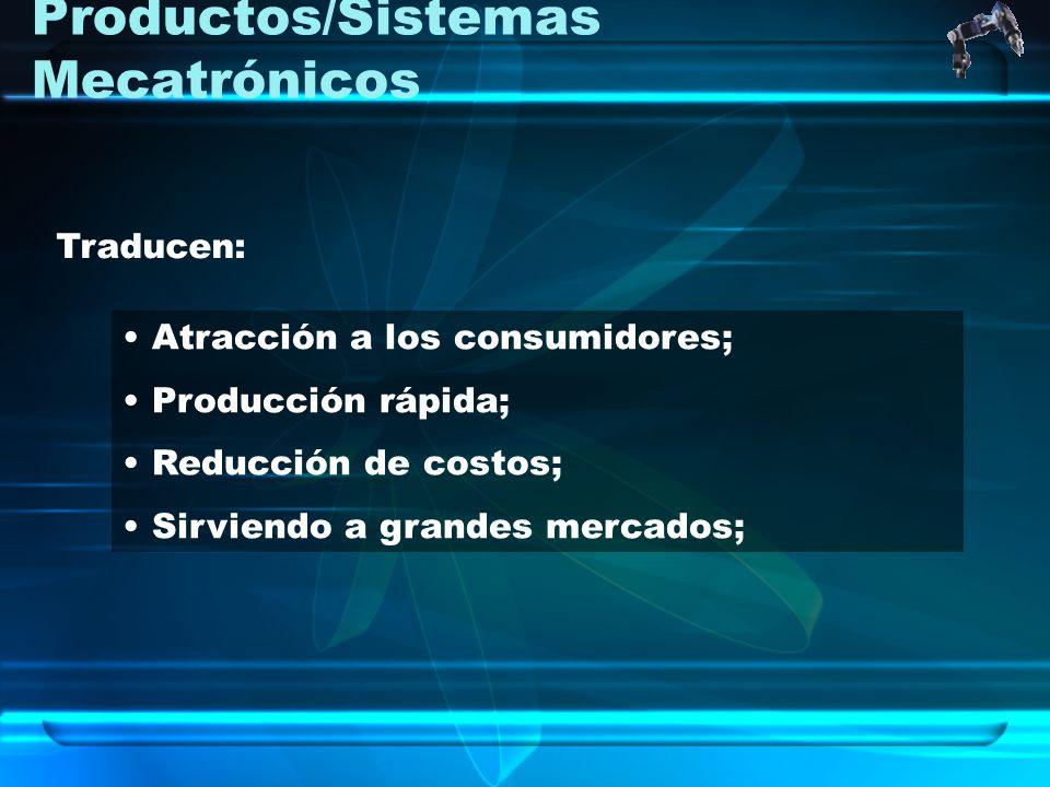 Productos/Sistemas Mecatrónicos Atracción a los consumidores; Producción rápida; Reducción de costos; Sirviendo a grandes mercados; Traducen:
