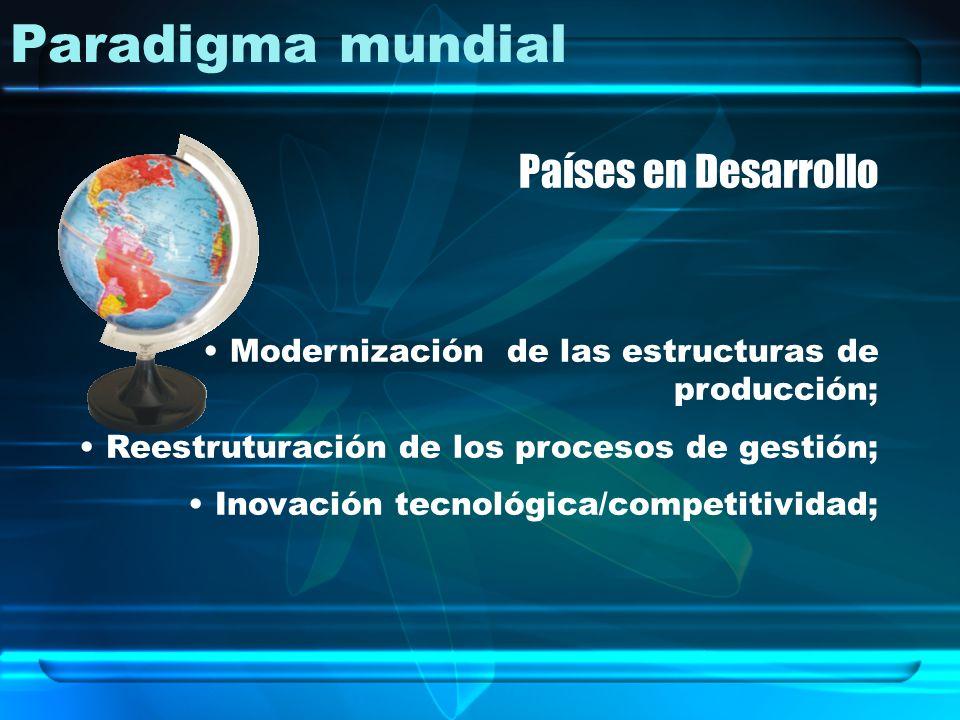 Paradigma mundial Países en Desarrollo Modernización de las estructuras de producción; Reestruturación de los procesos de gestión; Inovación tecnológi