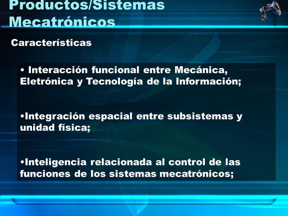 Productos/Sistemas Mecatrónicos Interacción funcional entre Mecánica, Eletrónica y Tecnología de la Información; Integración espacial entre subsistema