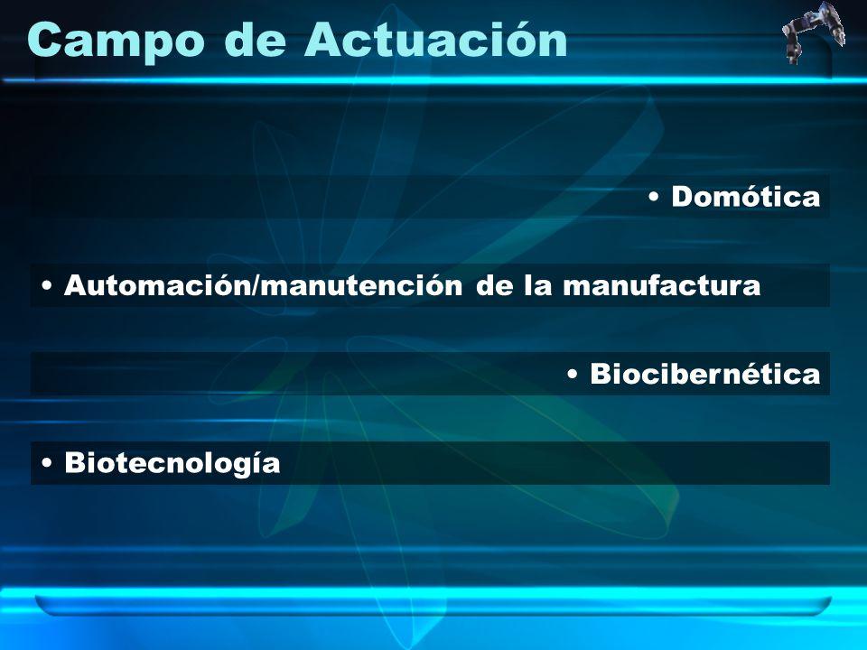 Campo de Actuación Domótica Biocibernética Automación/manutención de la manufactura Biotecnología