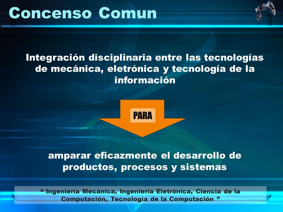 Concenso Comun Integración disciplinaria entre las tecnologías de mecánica, eletrónica y tecnología de la información amparar eficazmente el desarroll