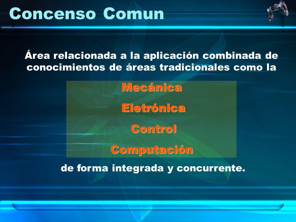Concenso Comun Área relacionada a la aplicación combinada de conocimientos de áreas tradicionales como laMecánica Eletrónica Eletrónica Control Contro