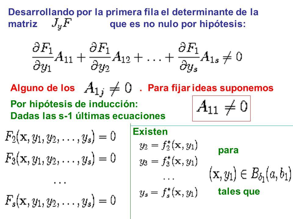 Desarrollando por la primera fila el determinante de la matriz que es no nulo por hipótesis: Alguno de los.