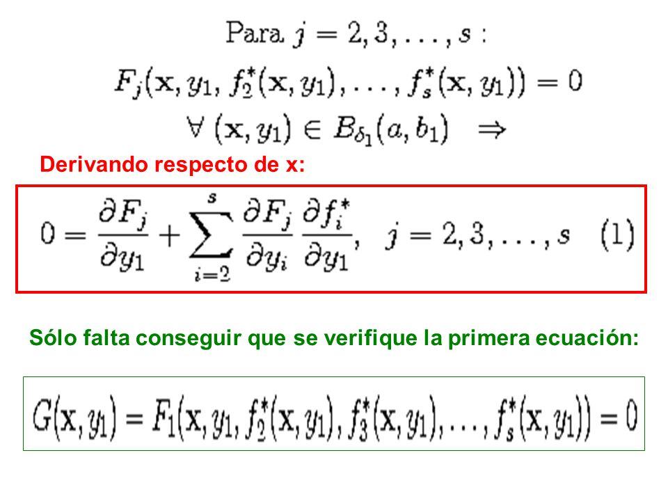 Derivando respecto de x: Sólo falta conseguir que se verifique la primera ecuación: