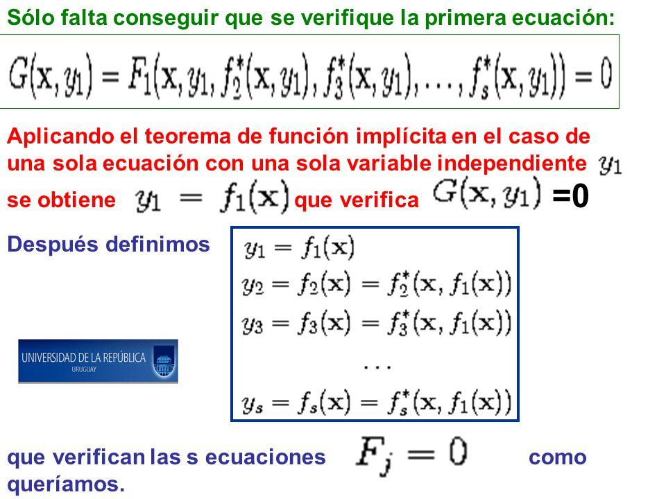Aplicando el teorema de función implícita en el caso de una sola ecuación con una sola variable independiente se obtiene que verifica =0 Después definimos que verifican las s ecuaciones como queríamos.