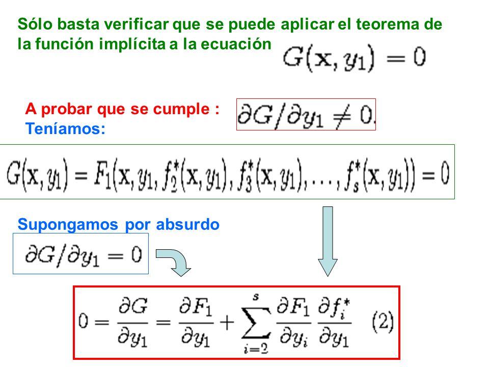 Sólo basta verificar que se puede aplicar el teorema de la función implícita a la ecuación A probar que se cumple : Teníamos: Supongamos por absurdo