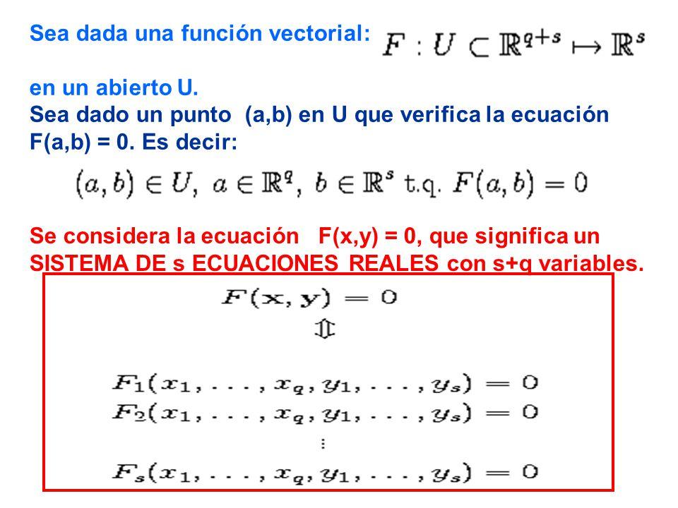 Sea dada una función vectorial: en un abierto U.