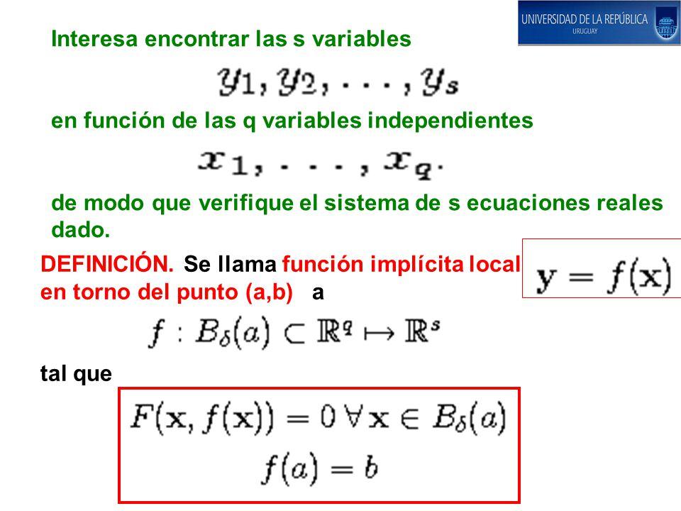 Interesa encontrar las s variables en función de las q variables independientes de modo que verifique el sistema de s ecuaciones reales dado.