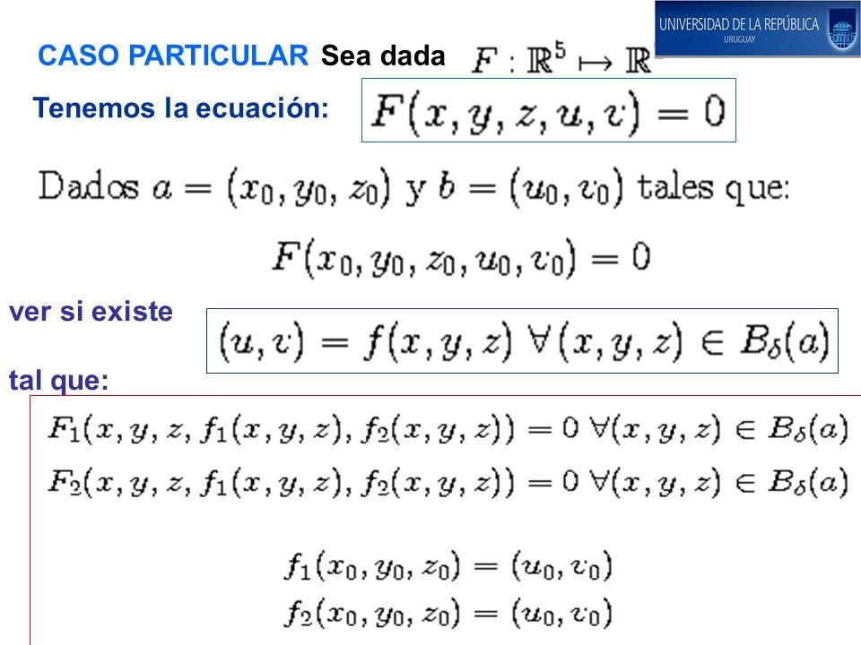 CASO PARTICULAR Sea dada Tenemos la ecuación: ver si existe tal que: