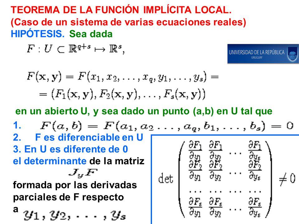 TEOREMA DE LA FUNCIÓN IMPLÍCITA LOCAL.(Caso de un sistema de varias ecuaciones reales) HIPÓTESIS.