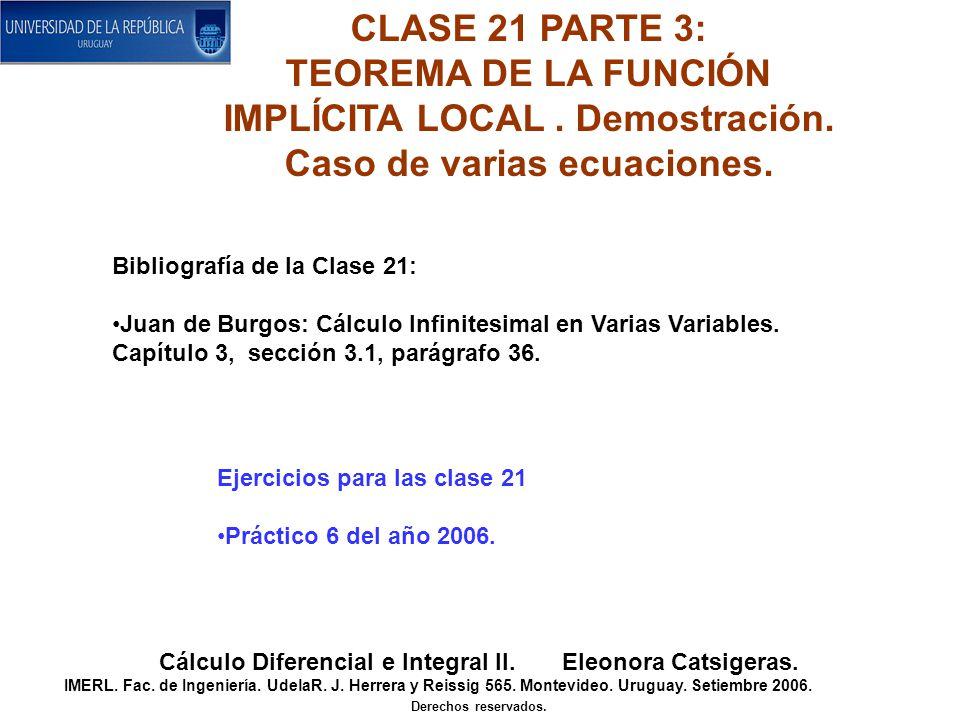 CLASE 21 PARTE 3: TEOREMA DE LA FUNCIÓN IMPLÍCITA LOCAL.