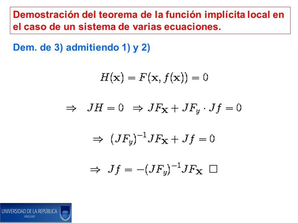 Demostración del teorema de la función implícita local en el caso de un sistema de varias ecuaciones.
