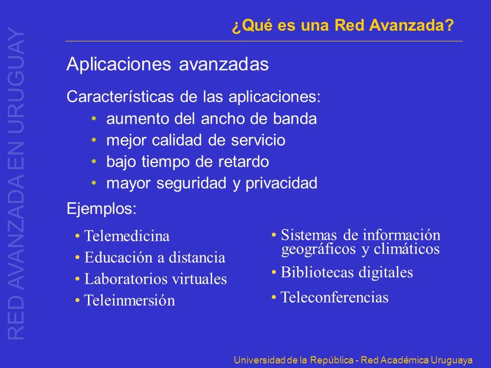 Universidad de la República - Red Académica Uruguaya Aplicaciones avanzadas Características de las aplicaciones: aumento del ancho de banda mejor cali