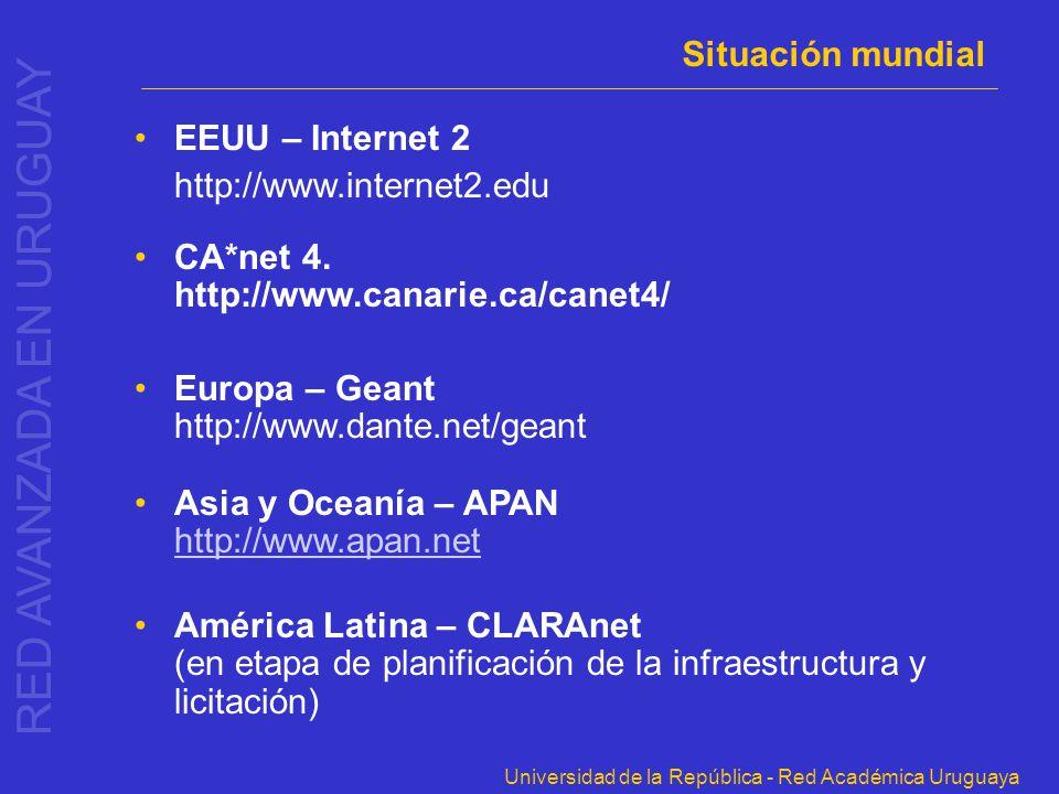 Universidad de la República - Red Académica Uruguaya Situación mundial EEUU – Internet 2 http://www.internet2.edu CA*net 4. http://www.canarie.ca/cane
