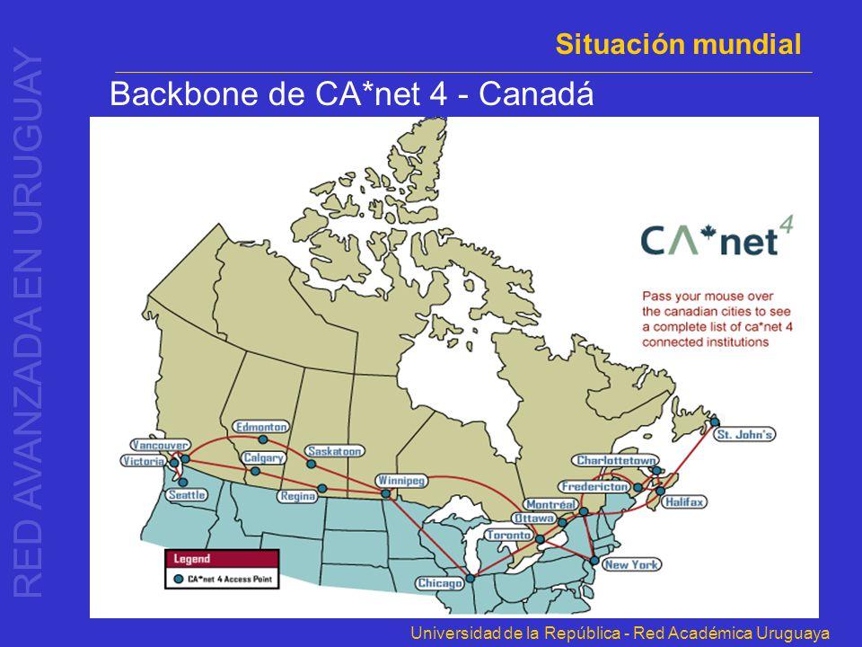 Universidad de la República - Red Académica Uruguaya Backbone de CA*net 4 - Canadá Situación mundial RED AVANZADA EN URUGUAY