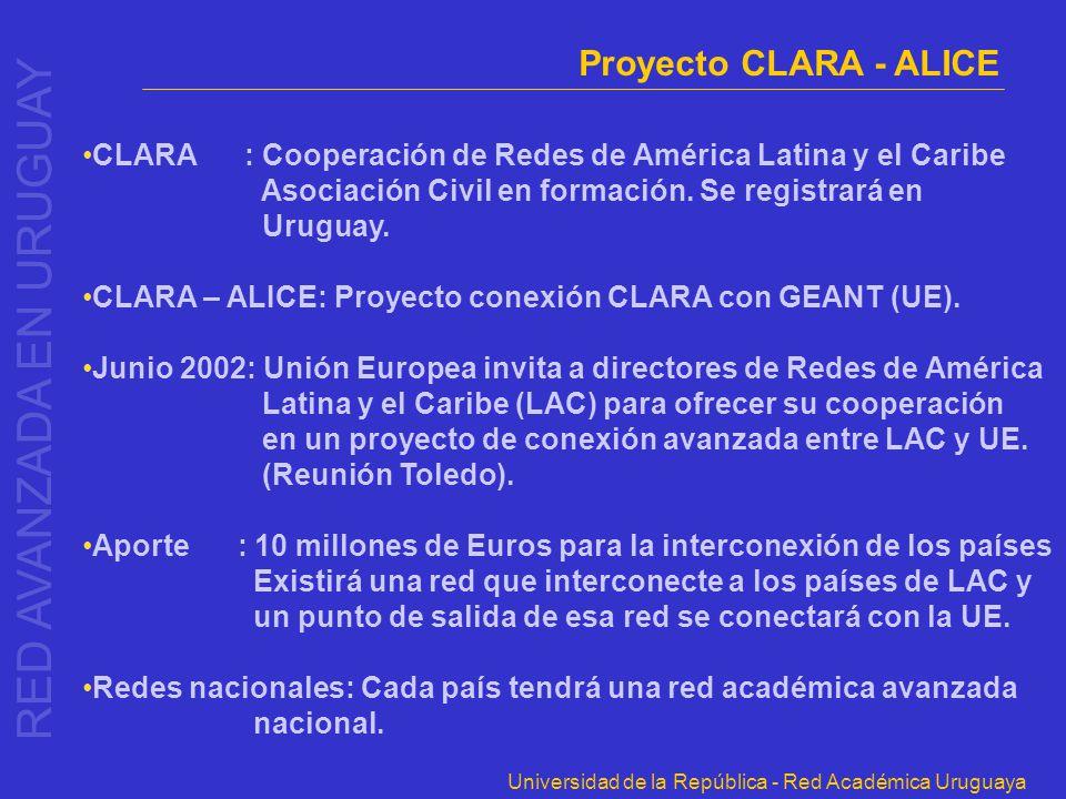 Universidad de la República - Red Académica Uruguaya Proyecto CLARA - ALICE CLARA : Cooperación de Redes de América Latina y el Caribe Asociación Civi