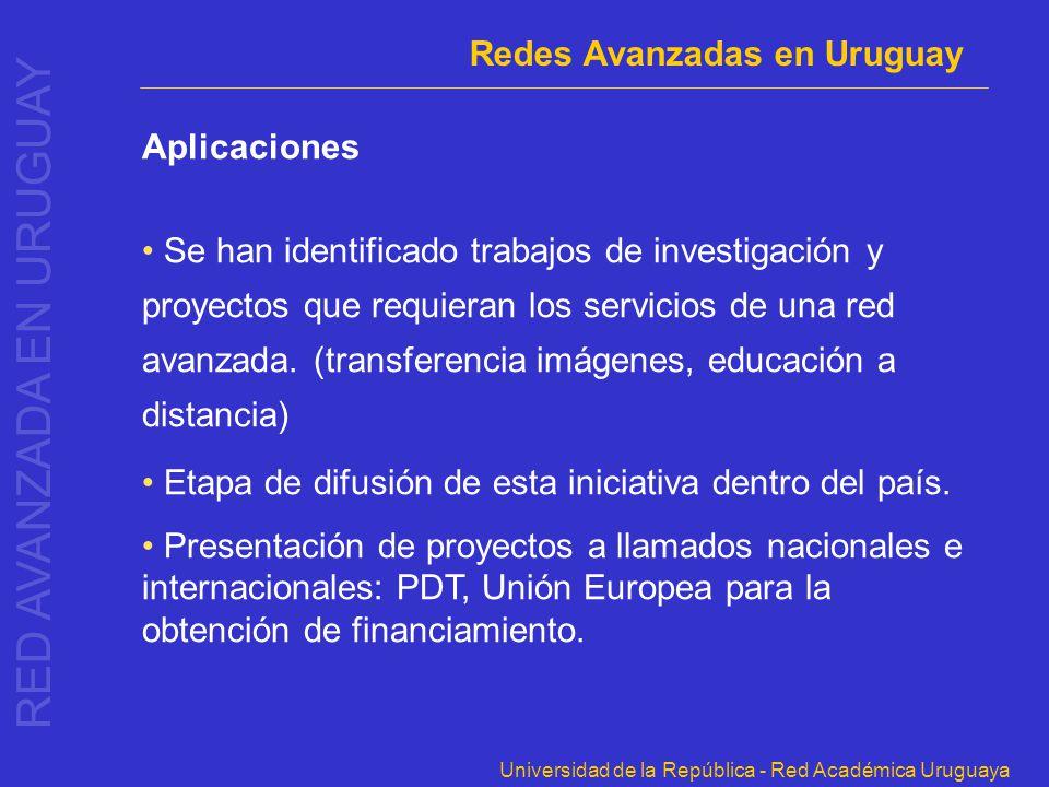 Universidad de la República - Red Académica Uruguaya Aplicaciones Se han identificado trabajos de investigación y proyectos que requieran los servicio