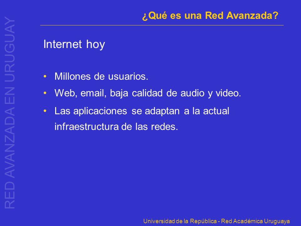 Universidad de la República - Red Académica Uruguaya Internet hoy Millones de usuarios. Web, email, baja calidad de audio y video. Las aplicaciones se