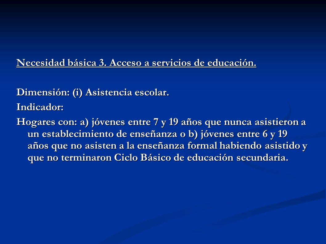 Necesidad básica 3. Acceso a servicios de educación.