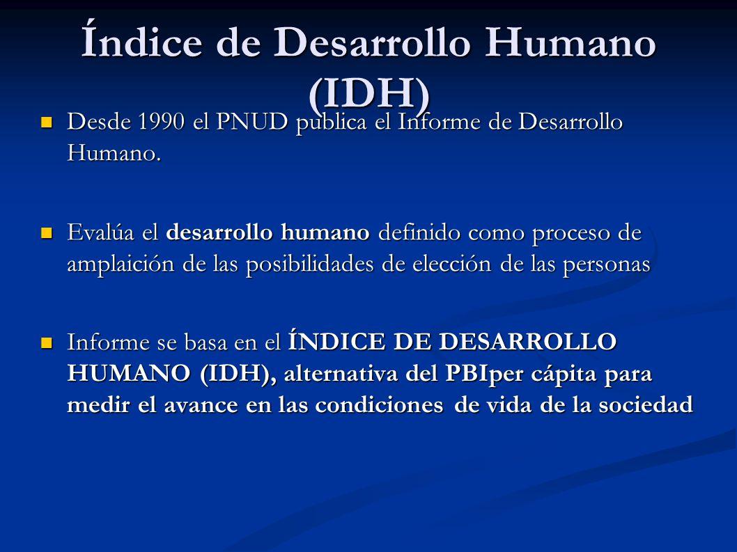 Índice de Desarrollo Humano (IDH) Desde 1990 el PNUD publica el Informe de Desarrollo Humano.