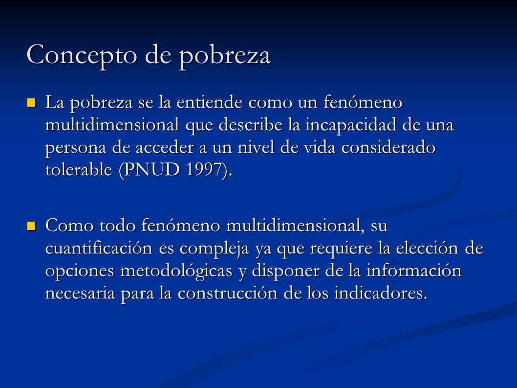 Concepto de pobreza La pobreza se la entiende como un fenómeno multidimensional que describe la incapacidad de una persona de acceder a un nivel de vida considerado tolerable (PNUD 1997).