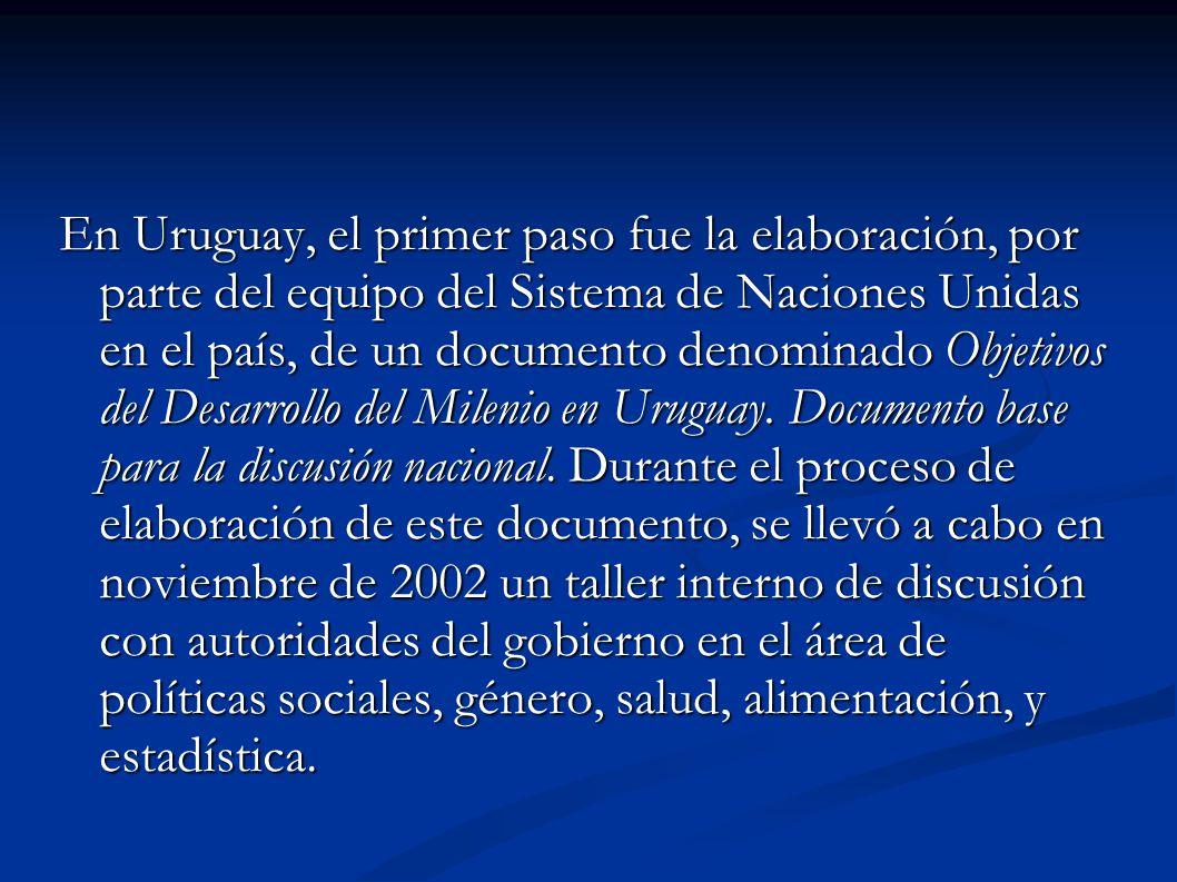 En Uruguay, el primer paso fue la elaboración, por parte del equipo del Sistema de Naciones Unidas en el país, de un documento denominado Objetivos del Desarrollo del Milenio en Uruguay.