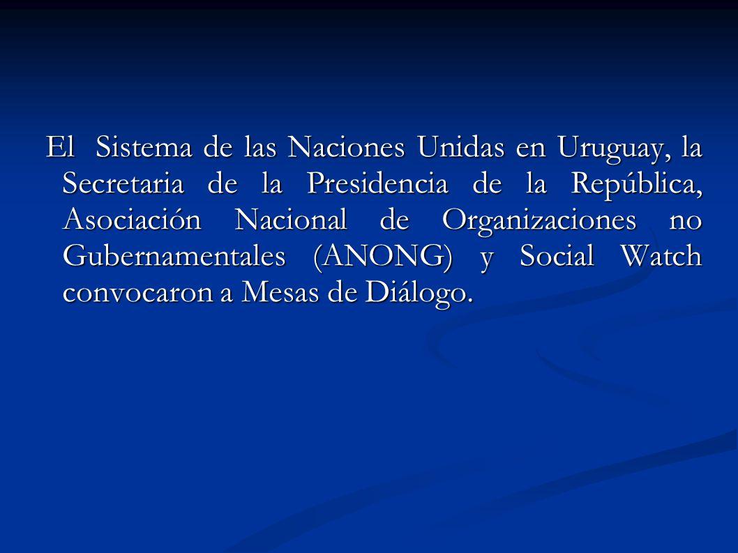 El Sistema de las Naciones Unidas en Uruguay, la Secretaria de la Presidencia de la República, Asociación Nacional de Organizaciones no Gubernamentale