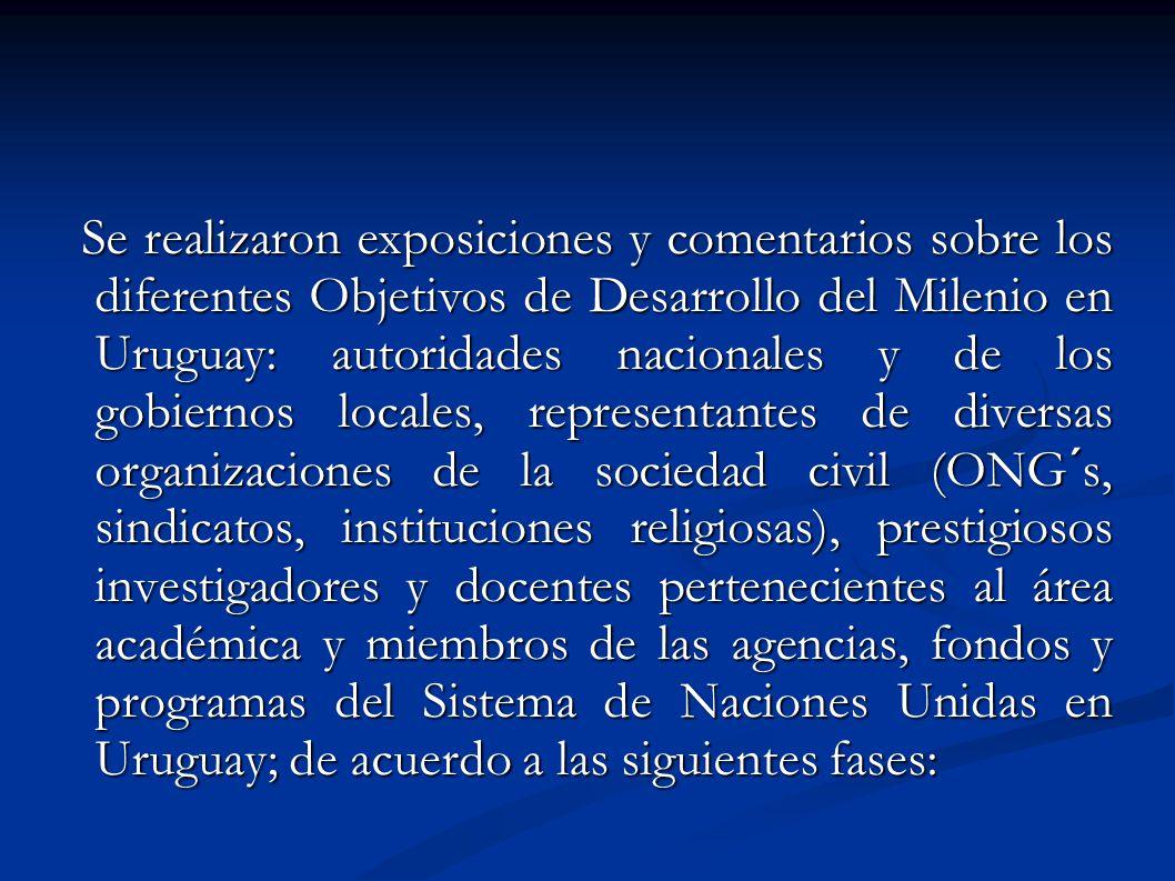 Se realizaron exposiciones y comentarios sobre los diferentes Objetivos de Desarrollo del Milenio en Uruguay: autoridades nacionales y de los gobierno