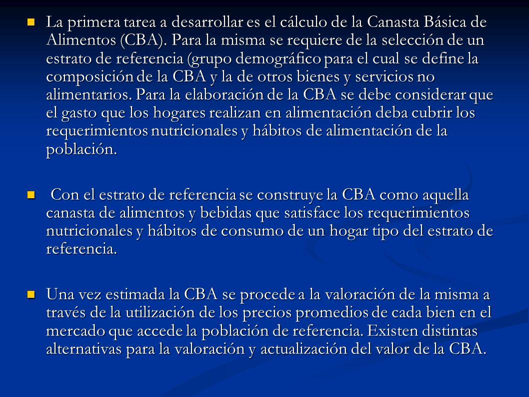 La primera tarea a desarrollar es el cálculo de la Canasta Básica de Alimentos (CBA).