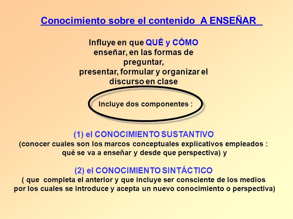 (1) el CONOCIMIENTO SUSTANTIVO (conocer cuales son los marcos conceptuales explicativos empleados : qué se va a enseñar y desde que perspectiva) y (2)