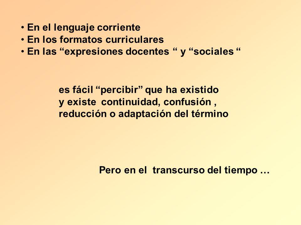 En el lenguaje corriente En los formatos curriculares En las expresiones docentes y sociales es fácil percibir que ha existido y existe continuidad, c