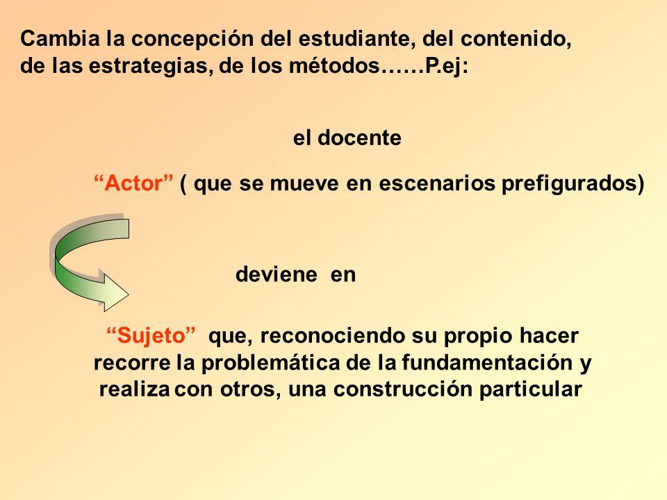 el docente Actor ( que se mueve en escenarios prefigurados) deviene en Sujeto que, reconociendo su propio hacer recorre la problemática de la fundamen