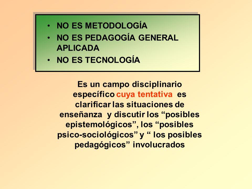 NO ES METODOLOGÍA NO ES PEDAGOGÍA GENERAL APLICADA NO ES TECNOLOGÍA Es un campo disciplinario específico cuya tentativa es clarificar las situaciones