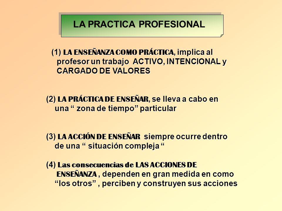 (1) LA ENSEÑANZA COMO PRÁCTICA, implica al profesor un trabajo ACTIVO, INTENCIONAL y profesor un trabajo ACTIVO, INTENCIONAL y CARGADO DE VALORES CARG