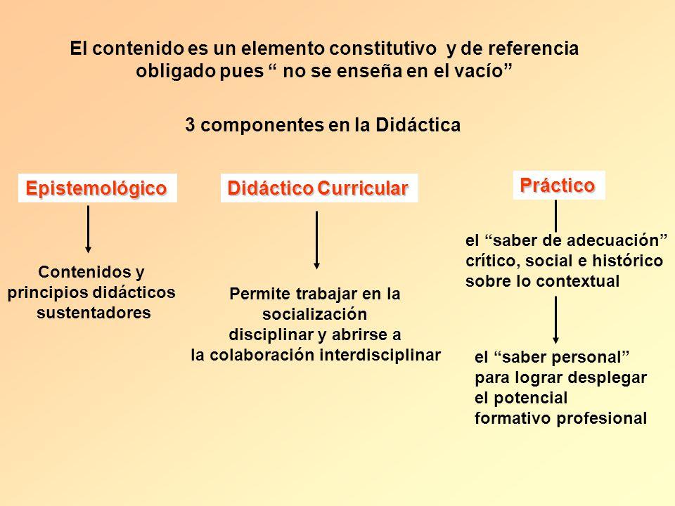 El contenido es un elemento constitutivo y de referencia obligado pues no se enseña en el vacío 3 componentes en la Didáctica Epistemológico Contenido