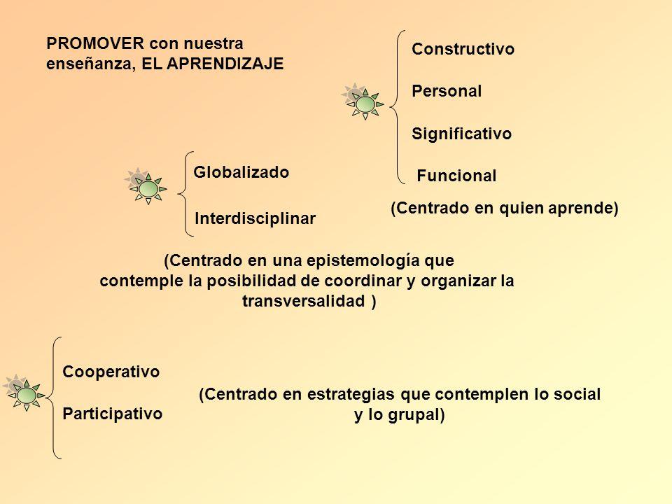 PROMOVER con nuestra enseñanza, EL APRENDIZAJE Constructivo Personal Significativo Funcional (Centrado en quien aprende) Globalizado Interdisciplinar