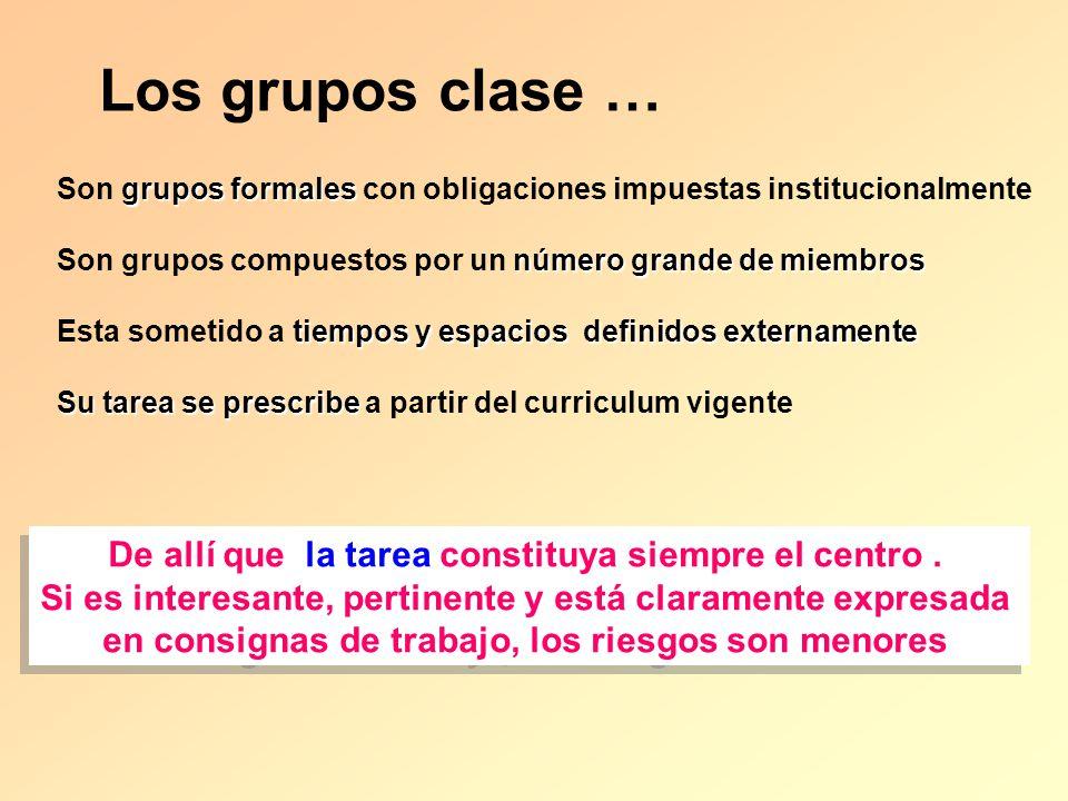 Los grupos clase … grupos formales Son grupos formales con obligaciones impuestas institucionalmente número grande de miembros Son grupos compuestos p