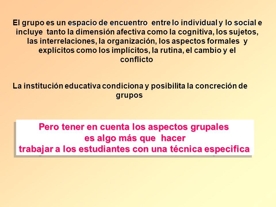 espacio de encuentro entre lo individual y lo social El grupo es un espacio de encuentro entre lo individual y lo social e incluye tanto la dimensión