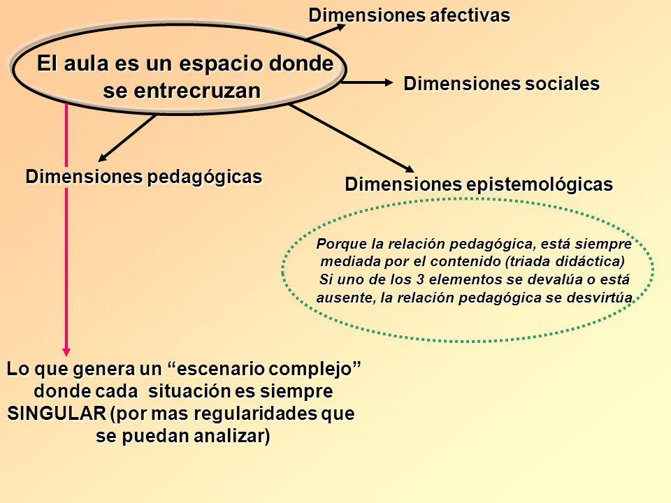 El aula es un espacio donde se entrecruzan Dimensiones afectivas Dimensiones sociales Dimensiones epistemológicas Dimensiones pedagógicas Lo que gener