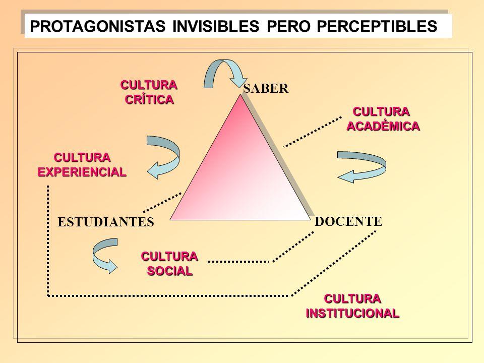 SABER DOCENTE ESTUDIANTES CULTURAACADÉMICA CULTURACRÍTICA CULTURAEXPERIENCIAL CULTURASOCIAL CULTURAINSTITUCIONAL PROTAGONISTAS INVISIBLES PERO PERCEPT