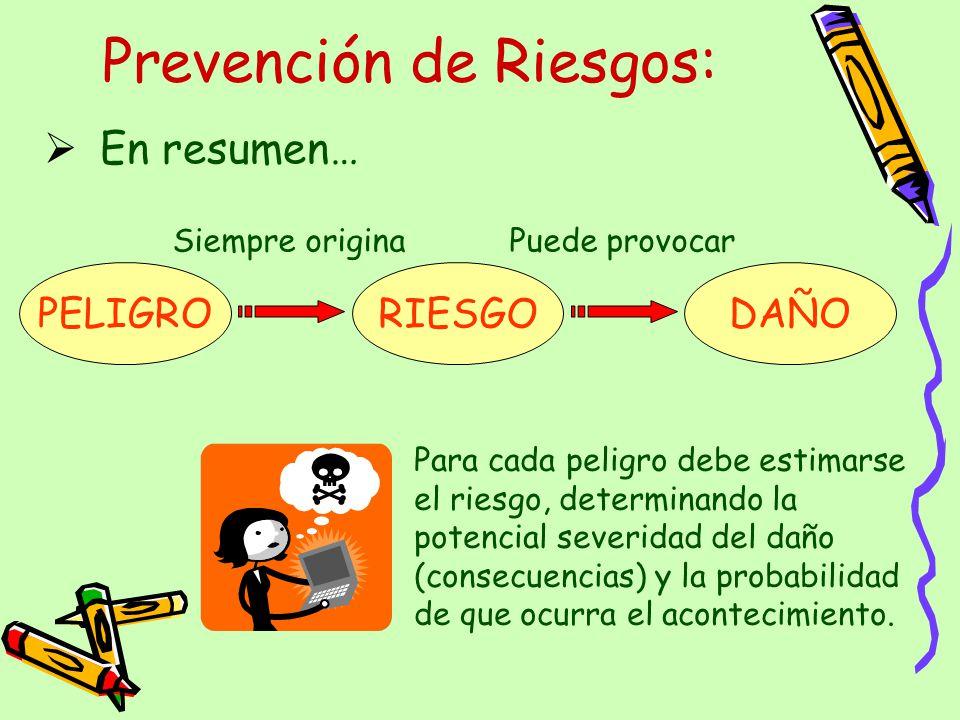 Prevención de Riesgos: En resumen… PELIGRO RIESGO DAÑO Siempre originaPuede provocar Para cada peligro debe estimarse el riesgo, determinando la poten