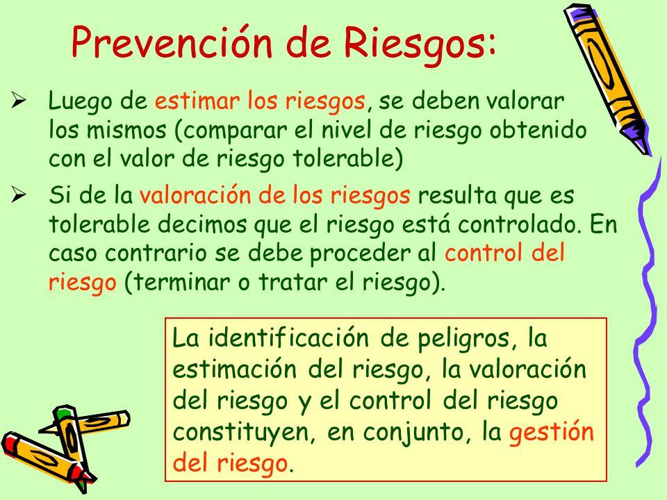 Luego de estimar los riesgos, se deben valorar los mismos (comparar el nivel de riesgo obtenido con el valor de riesgo tolerable) Prevención de Riesgo