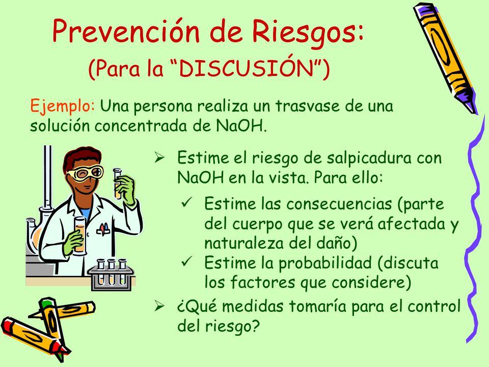 Prevención de Riesgos: Ejemplo: Una persona realiza un trasvase de una solución concentrada de NaOH. Estime el riesgo de salpicadura con NaOH en la vi