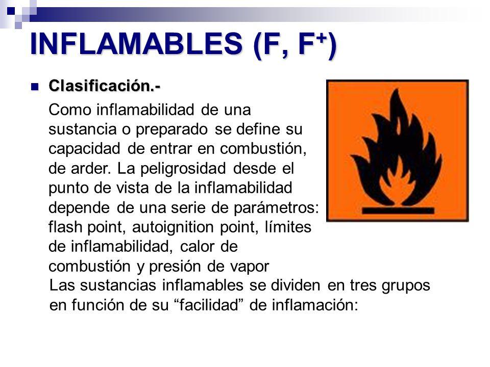 INFLAMABLES (F, F + ) Clasificación.- Clasificación.- Como inflamabilidad de una sustancia o preparado se define su capacidad de entrar en combustión,