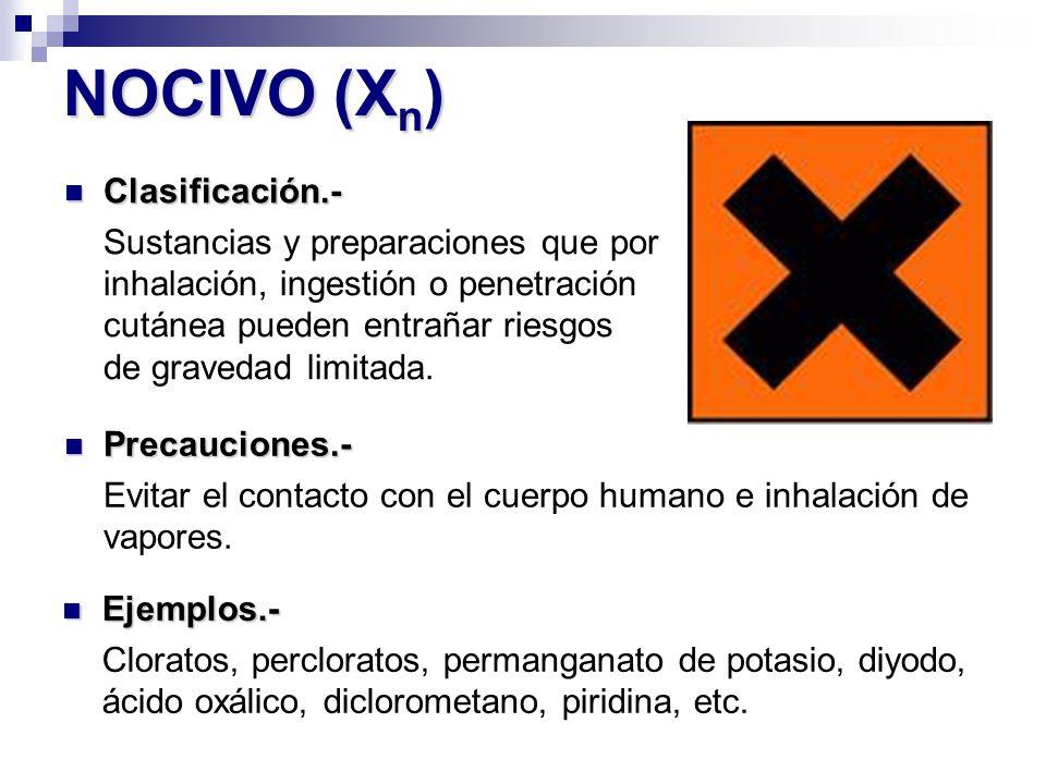 NOCIVO (X n ) Precauciones.- Precauciones.- Evitar el contacto con el cuerpo humano e inhalación de vapores. Ejemplos.- Ejemplos.- Cloratos, perclorat